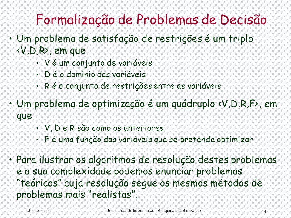 1 Junho 2005Seminários de Informática – Pesquisa e Optimização 14 Formalização de Problemas de Decisão Um problema de satisfação de restrições é um tr
