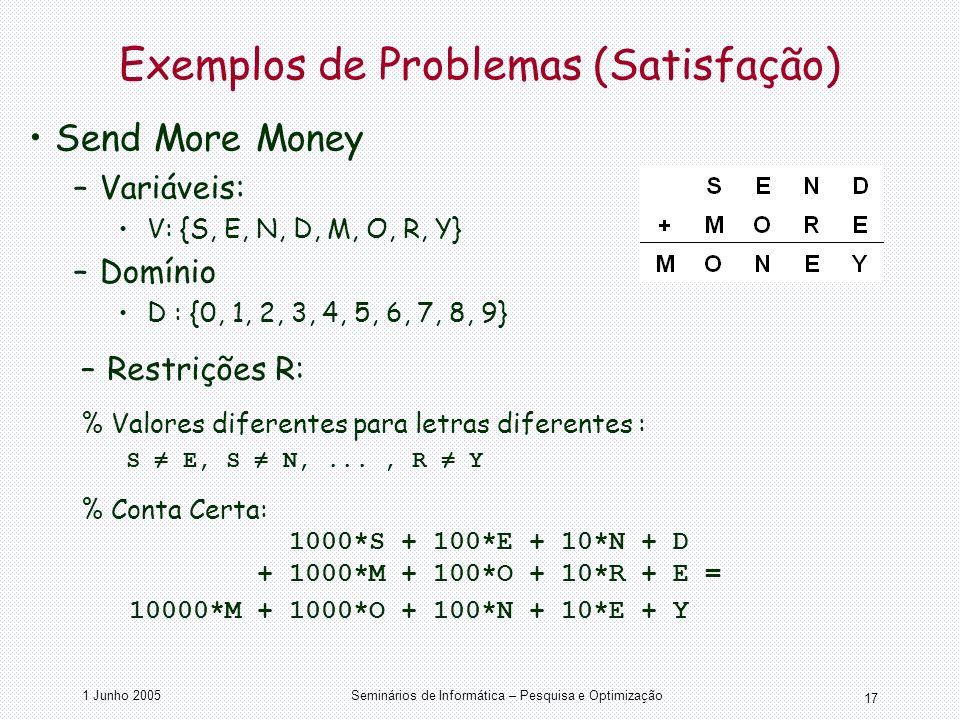 1 Junho 2005Seminários de Informática – Pesquisa e Optimização 17 Send More Money –Variáveis: V: {S, E, N, D, M, O, R, Y} –Domínio D : {0, 1, 2, 3, 4,