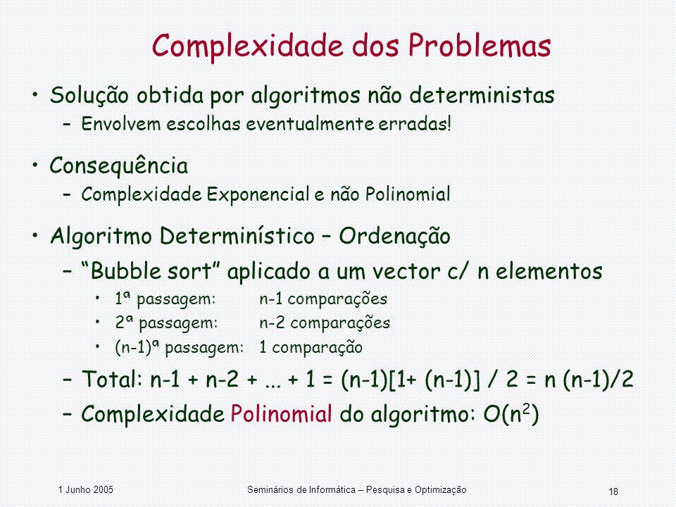 1 Junho 2005Seminários de Informática – Pesquisa e Optimização 18 Complexidade dos Problemas Solução obtida por algoritmos não deterministas –Envolvem