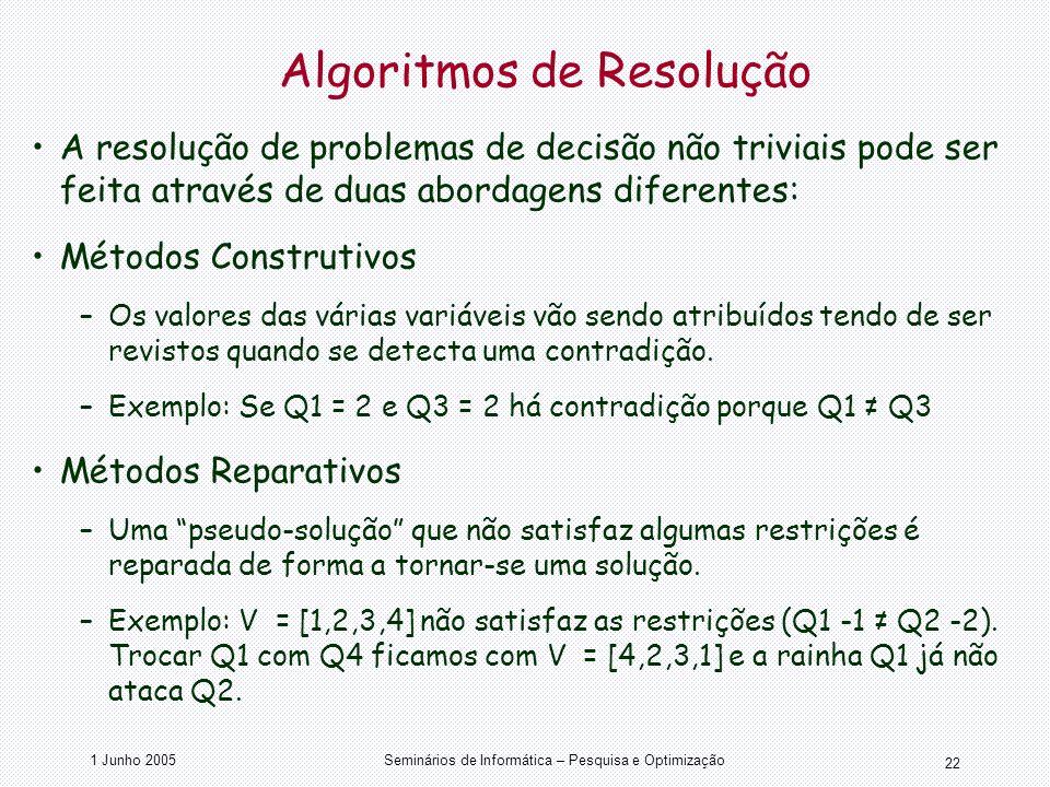 1 Junho 2005Seminários de Informática – Pesquisa e Optimização 22 Algoritmos de Resolução A resolução de problemas de decisão não triviais pode ser fe