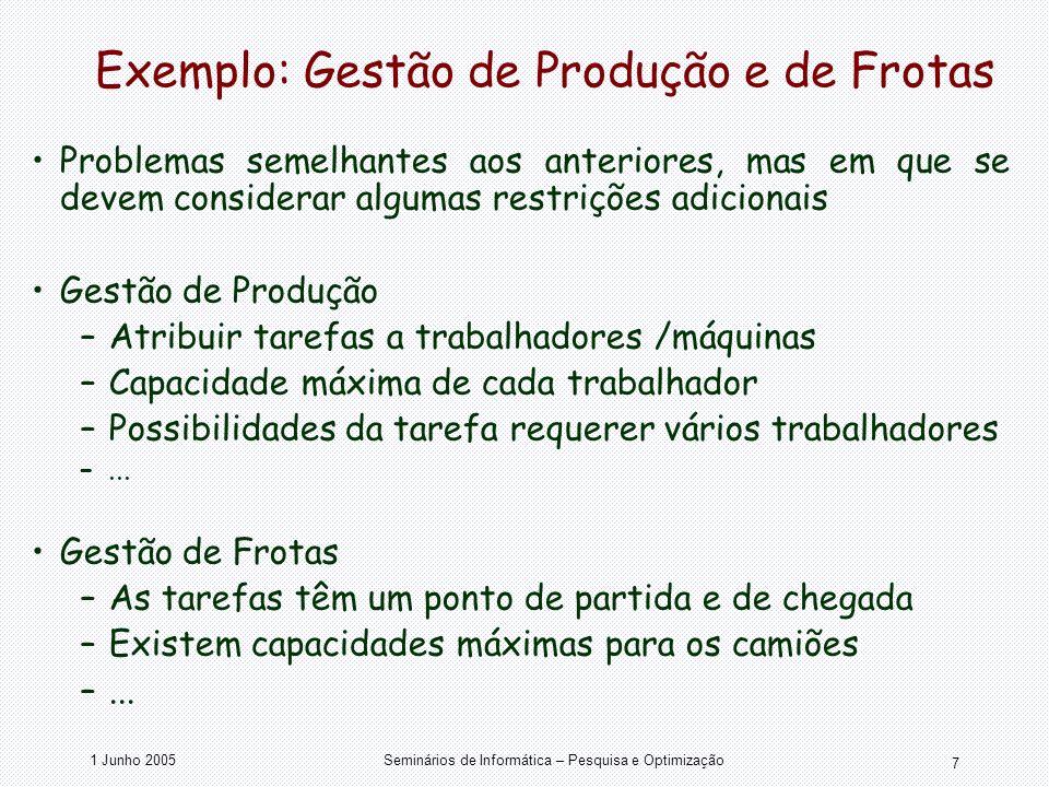 1 Junho 2005Seminários de Informática – Pesquisa e Optimização 7 Exemplo: Gestão de Produção e de Frotas Problemas semelhantes aos anteriores, mas em