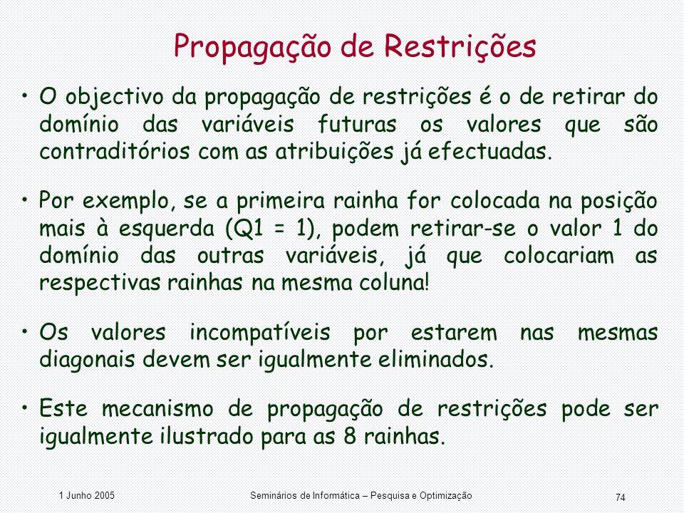1 Junho 2005Seminários de Informática – Pesquisa e Optimização 74 Propagação de Restrições O objectivo da propagação de restrições é o de retirar do d