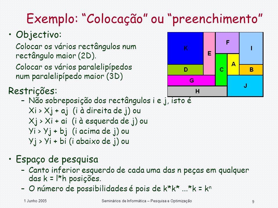 1 Junho 2005Seminários de Informática – Pesquisa e Optimização 9 Exemplo: Colocação ou preenchimento Objectivo: Colocar os vários rectângulos num rect