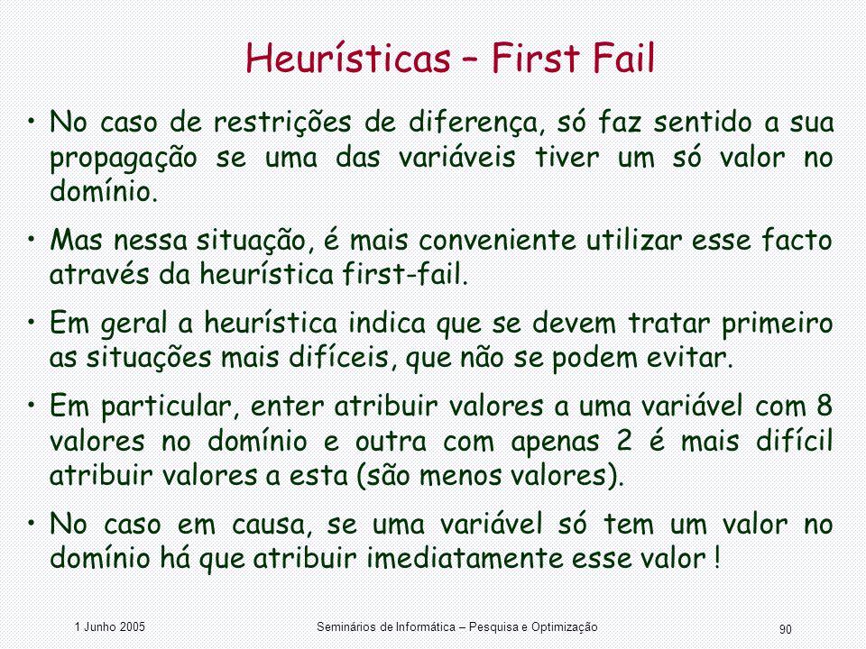 1 Junho 2005Seminários de Informática – Pesquisa e Optimização 90 Heurísticas – First Fail No caso de restrições de diferença, só faz sentido a sua pr