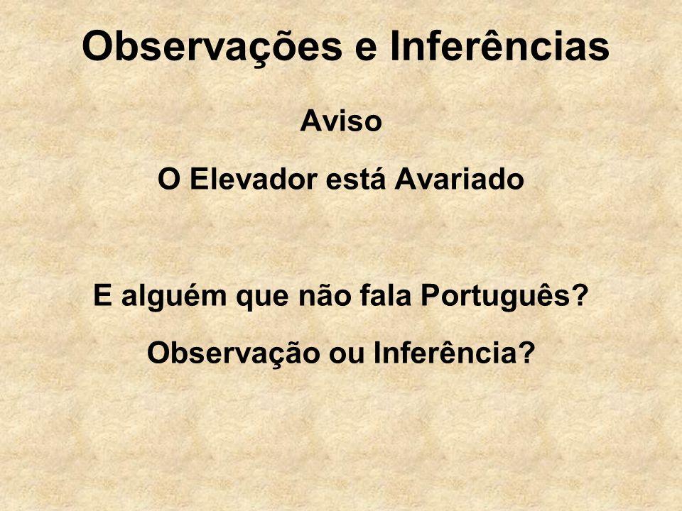 Observações e Inferências Aviso O Elevador está Avariado E alguém que não fala Português? Observação ou Inferência?