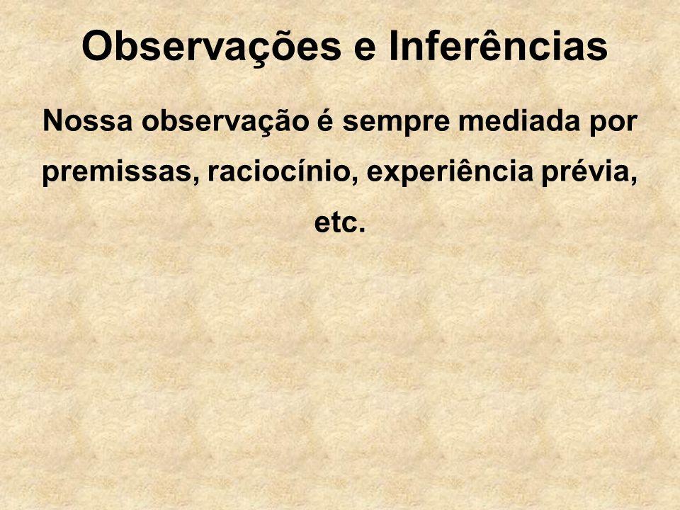 Observações e Inferências Nossa observação é sempre mediada por premissas, raciocínio, experiência prévia, etc.