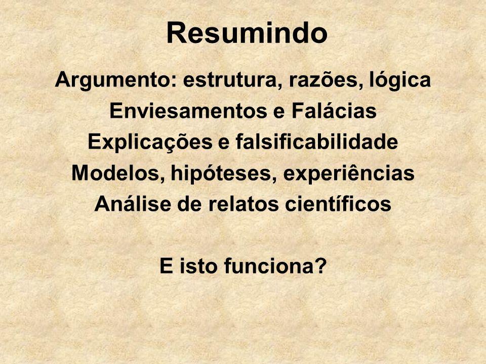 Resumindo Argumento: estrutura, razões, lógica Enviesamentos e Falácias Explicações e falsificabilidade Modelos, hipóteses, experiências Análise de re