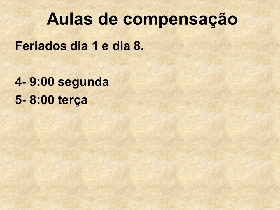 Aulas de compensação Feriados dia 1 e dia 8. 4- 9:00 segunda 5- 8:00 terça