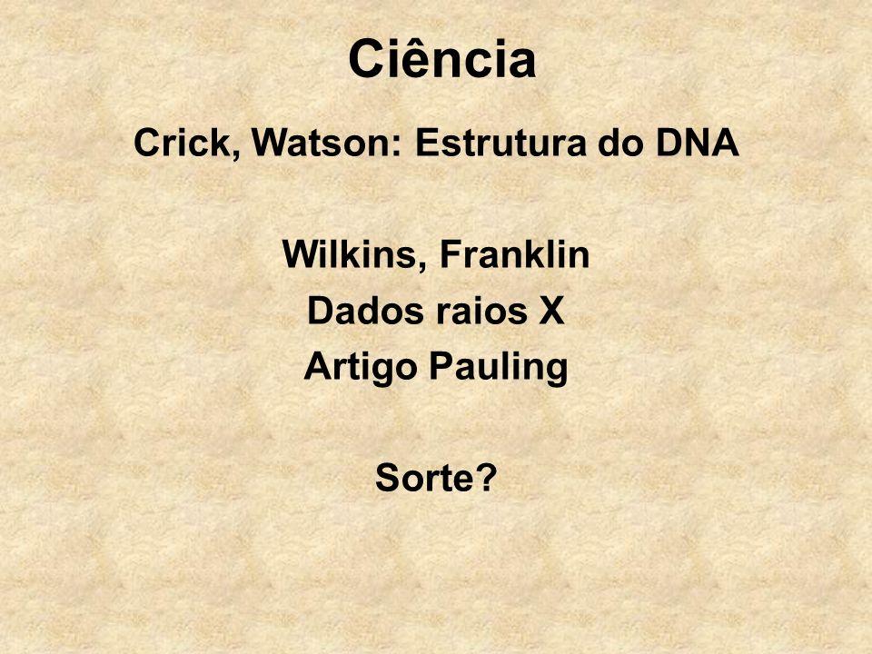 Ciência Crick, Watson: Estrutura do DNA Wilkins, Franklin Dados raios X Artigo Pauling Sorte?