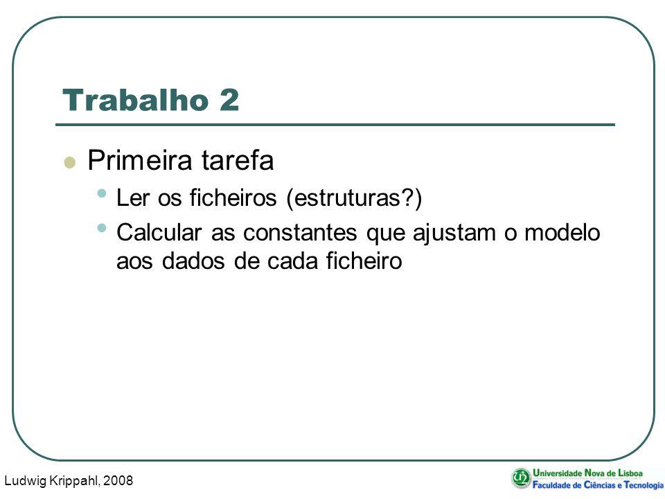 Ludwig Krippahl, 2008 115 Trabalho 2 Primeira tarefa Ler os ficheiros (estruturas ) Calcular as constantes que ajustam o modelo aos dados de cada ficheiro