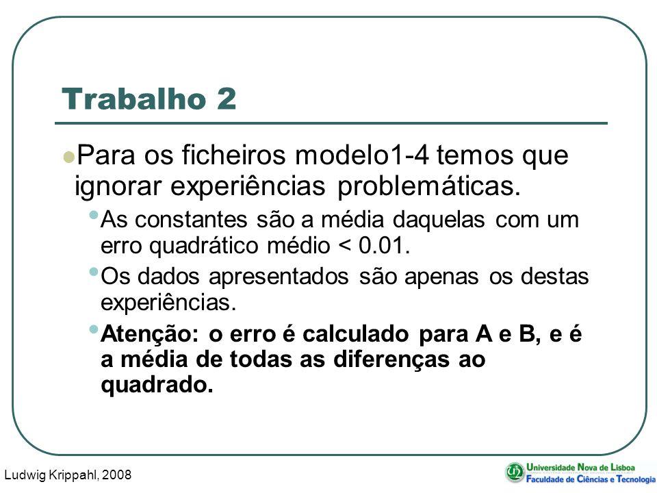 Ludwig Krippahl, 2008 123 Trabalho 2 Para os ficheiros modelo1-4 temos que ignorar experiências problemáticas.