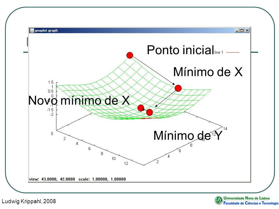Ludwig Krippahl, 2008 15 Minimização multidimensional Ponto inicial Mínimo de X Mínimo de Y Novo mínimo de X