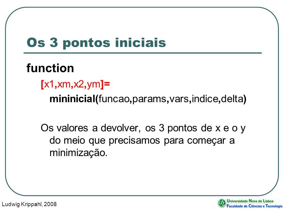 Ludwig Krippahl, 2008 26 Os 3 pontos iniciais function [x1,xm,x2,ym]= mininicial(funcao,params,vars,indice,delta) Os valores a devolver, os 3 pontos de x e o y do meio que precisamos para começar a minimização.
