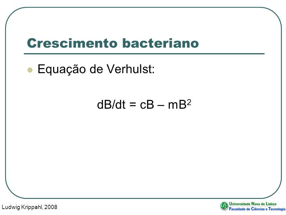 Ludwig Krippahl, 2008 3 Crescimento bacteriano Equação de Verhulst: dB/dt = cB – mB 2