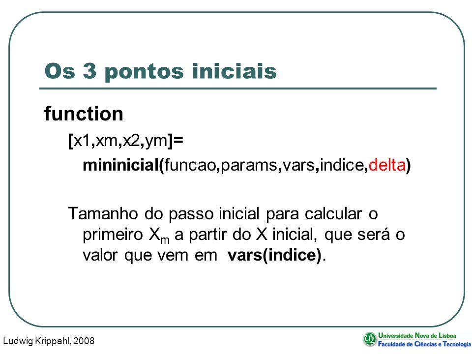 Ludwig Krippahl, 2008 30 Os 3 pontos iniciais function [x1,xm,x2,ym]= mininicial(funcao,params,vars,indice,delta) Tamanho do passo inicial para calcular o primeiro X m a partir do X inicial, que será o valor que vem em vars(indice).