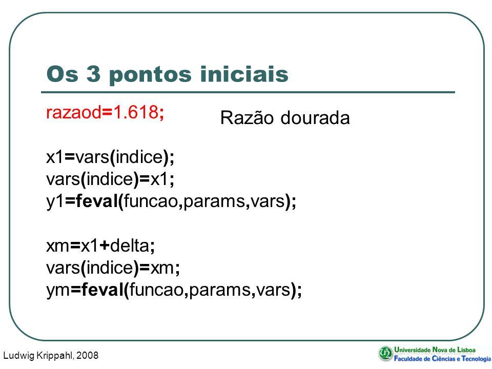 Ludwig Krippahl, 2008 31 Os 3 pontos iniciais razaod=1.618; x1=vars(indice); vars(indice)=x1; y1=feval(funcao,params,vars); xm=x1+delta; vars(indice)=xm; ym=feval(funcao,params,vars); Razão dourada