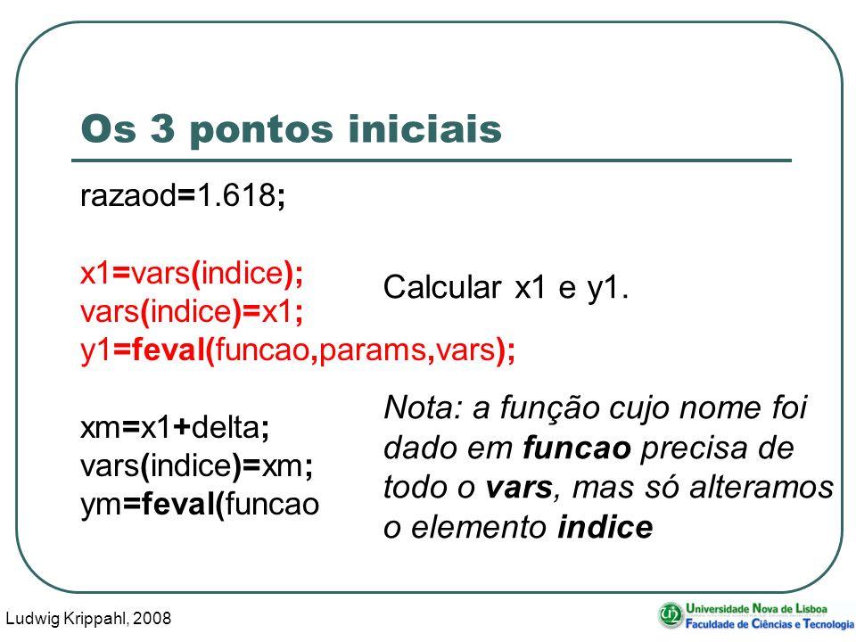 Ludwig Krippahl, 2008 32 Os 3 pontos iniciais razaod=1.618; x1=vars(indice); vars(indice)=x1; y1=feval(funcao,params,vars); xm=x1+delta; vars(indice)=xm; ym=feval(funcao,params,vars); Calcular x1 e y1.