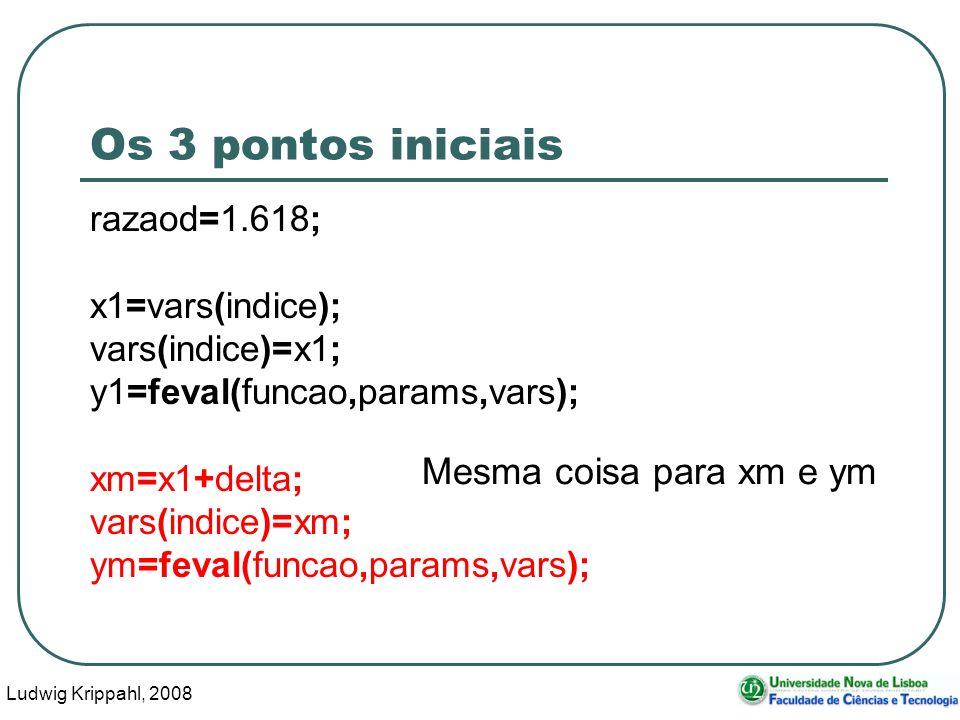 Ludwig Krippahl, 2008 33 Os 3 pontos iniciais razaod=1.618; x1=vars(indice); vars(indice)=x1; y1=feval(funcao,params,vars); xm=x1+delta; vars(indice)=xm; ym=feval(funcao,params,vars); Mesma coisa para xm e ym
