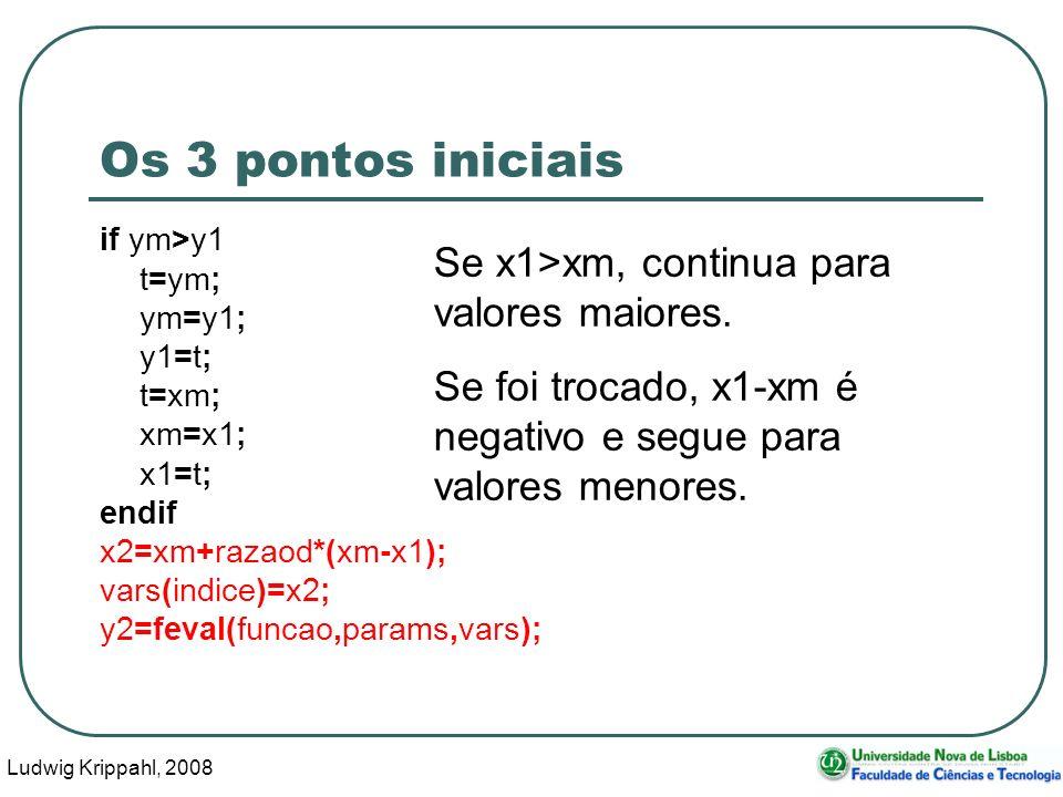 Ludwig Krippahl, 2008 36 Os 3 pontos iniciais if ym>y1 t=ym; ym=y1; y1=t; t=xm; xm=x1; x1=t; endif x2=xm+razaod*(xm-x1); vars(indice)=x2; y2=feval(funcao,params,vars); Se x1>xm, continua para valores maiores.