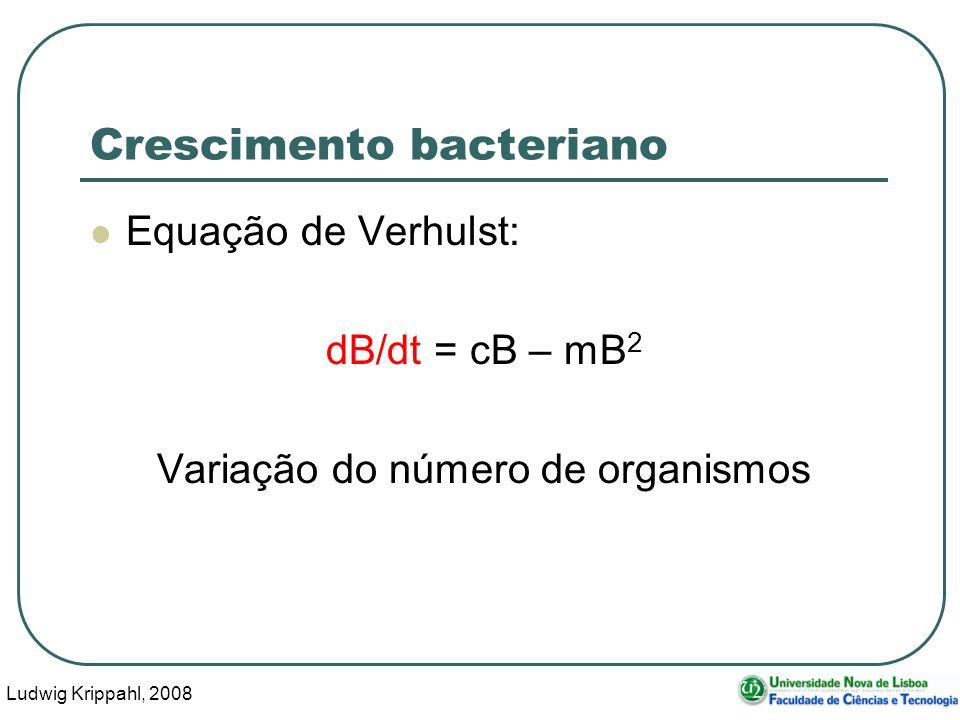 Ludwig Krippahl, 2008 4 Crescimento bacteriano Equação de Verhulst: dB/dt = cB – mB 2 Variação do número de organismos