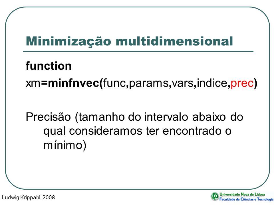 Ludwig Krippahl, 2008 43 Minimização multidimensional function xm=minfnvec(func,params,vars,indice,prec) Precisão (tamanho do intervalo abaixo do qual consideramos ter encontrado o mínimo)
