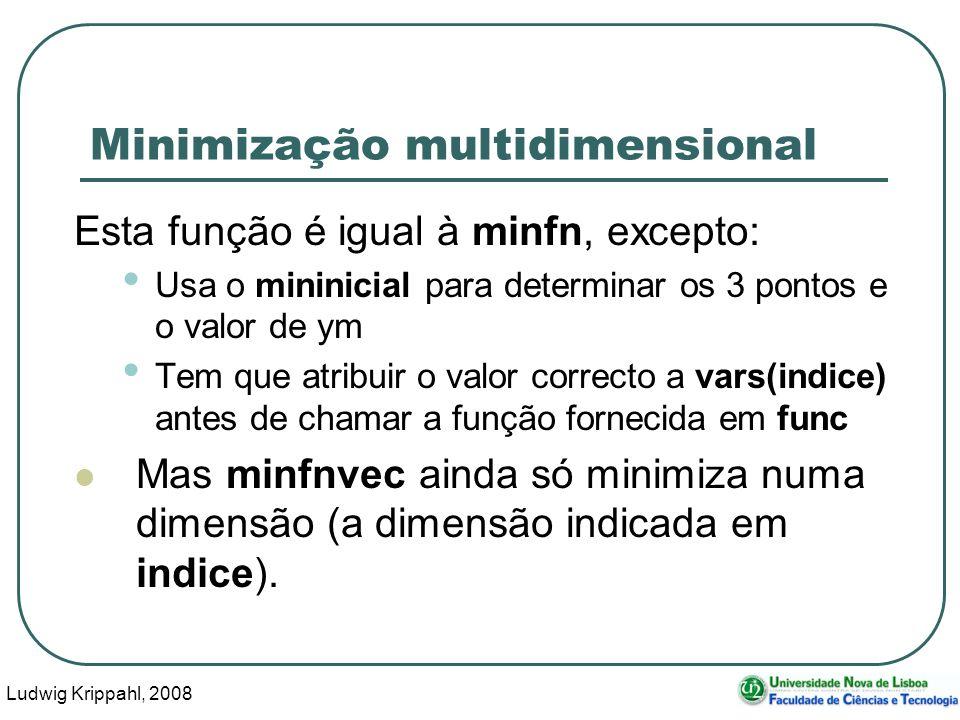 Ludwig Krippahl, 2008 46 Minimização multidimensional Esta função é igual à minfn, excepto: Usa o mininicial para determinar os 3 pontos e o valor de ym Tem que atribuir o valor correcto a vars(indice) antes de chamar a função fornecida em func Mas minfnvec ainda só minimiza numa dimensão (a dimensão indicada em indice).