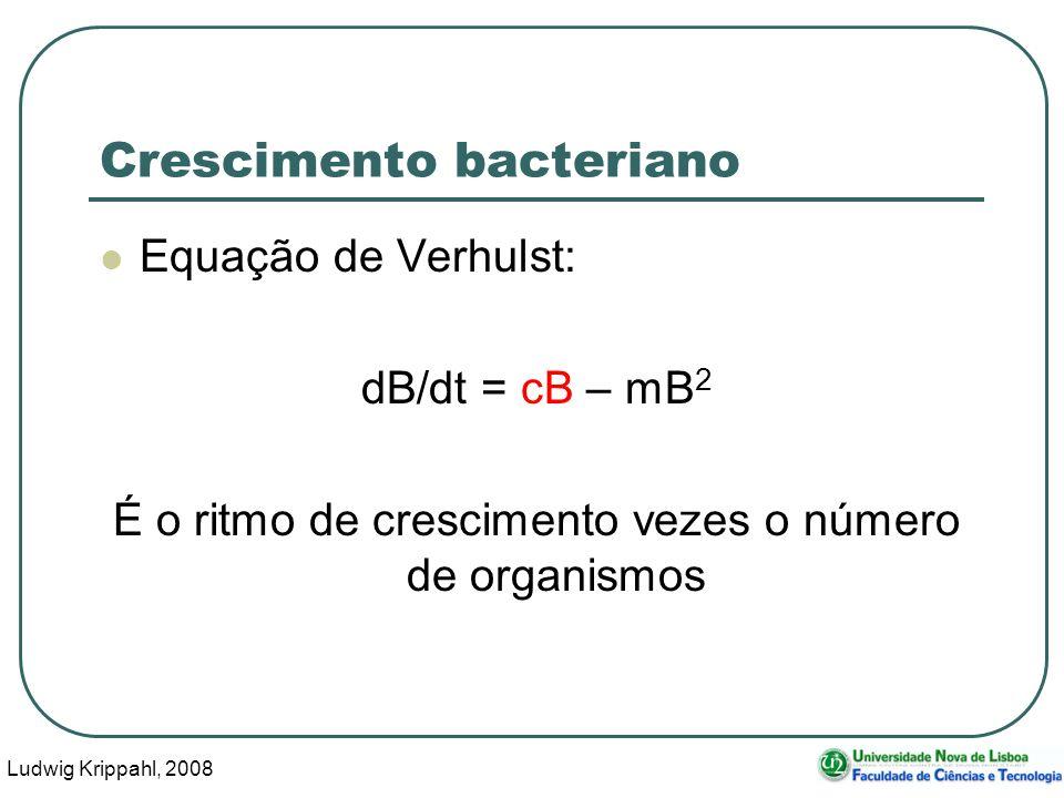 Ludwig Krippahl, 2008 5 Crescimento bacteriano Equação de Verhulst: dB/dt = cB – mB 2 É o ritmo de crescimento vezes o número de organismos