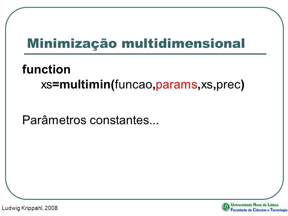 Ludwig Krippahl, 2008 50 Minimização multidimensional function xs=multimin(funcao,params,xs,prec) Parâmetros constantes...