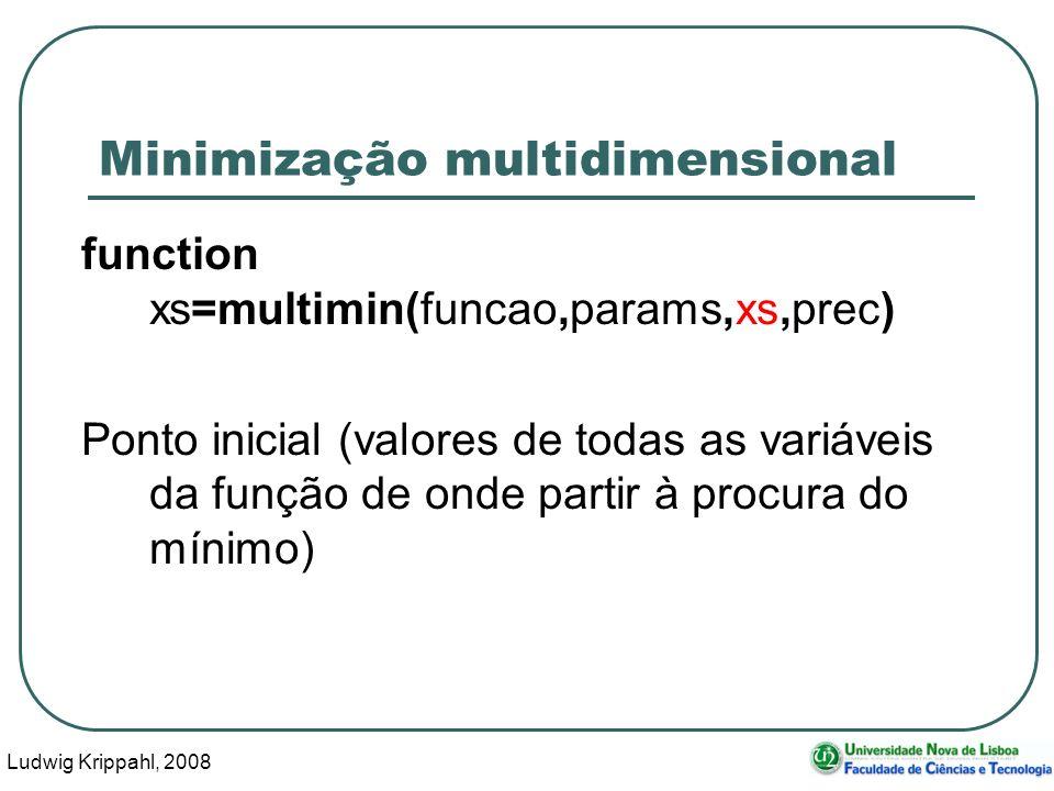 Ludwig Krippahl, 2008 51 Minimização multidimensional function xs=multimin(funcao,params,xs,prec) Ponto inicial (valores de todas as variáveis da função de onde partir à procura do mínimo)