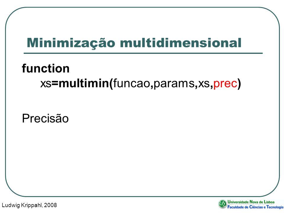 Ludwig Krippahl, 2008 52 Minimização multidimensional function xs=multimin(funcao,params,xs,prec) Precisão