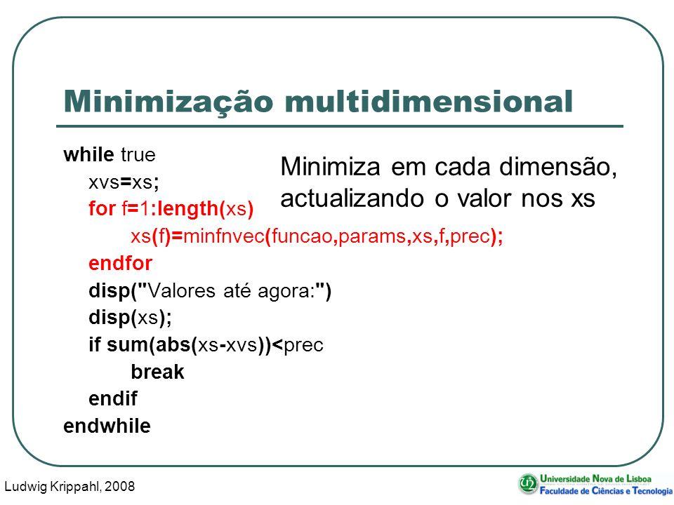 Ludwig Krippahl, 2008 55 Minimização multidimensional while true xvs=xs; for f=1:length(xs) xs(f)=minfnvec(funcao,params,xs,f,prec); endfor disp( Valores até agora: ) disp(xs); if sum(abs(xs-xvs))<prec break endif endwhile Minimiza em cada dimensão, actualizando o valor nos xs