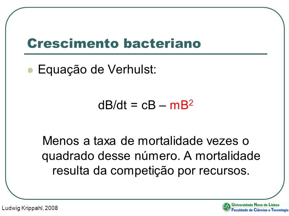 Ludwig Krippahl, 2008 6 Crescimento bacteriano Equação de Verhulst: dB/dt = cB – mB 2 Menos a taxa de mortalidade vezes o quadrado desse número.