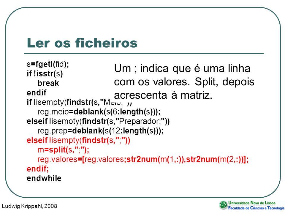 Ludwig Krippahl, 2008 88 Ler os ficheiros s=fgetl(fid); if !isstr(s) break endif if !isempty(findstr(s, Meio: )) reg.meio=deblank(s(6:length(s))); elseif !isemoty(findstr(s, Preparador: )) reg.prep=deblank(s(12:length(s))); elseif !isempty(findstr(s, ; )) m=split(s, ; ); reg.valores=[reg.valores;str2num(m(1,:)),str2num(m(2,:))]; endif; endwhile Um ; indica que é uma linha com os valores.