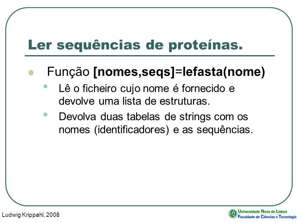 Ludwig Krippahl, 2008 24 Ler sequências de proteínas.