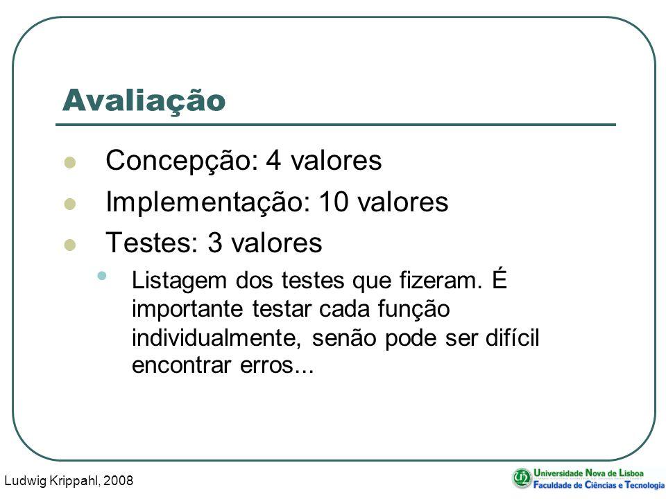 Ludwig Krippahl, 2008 36 Avaliação Concepção: 4 valores Implementação: 10 valores Testes: 3 valores Listagem dos testes que fizeram.