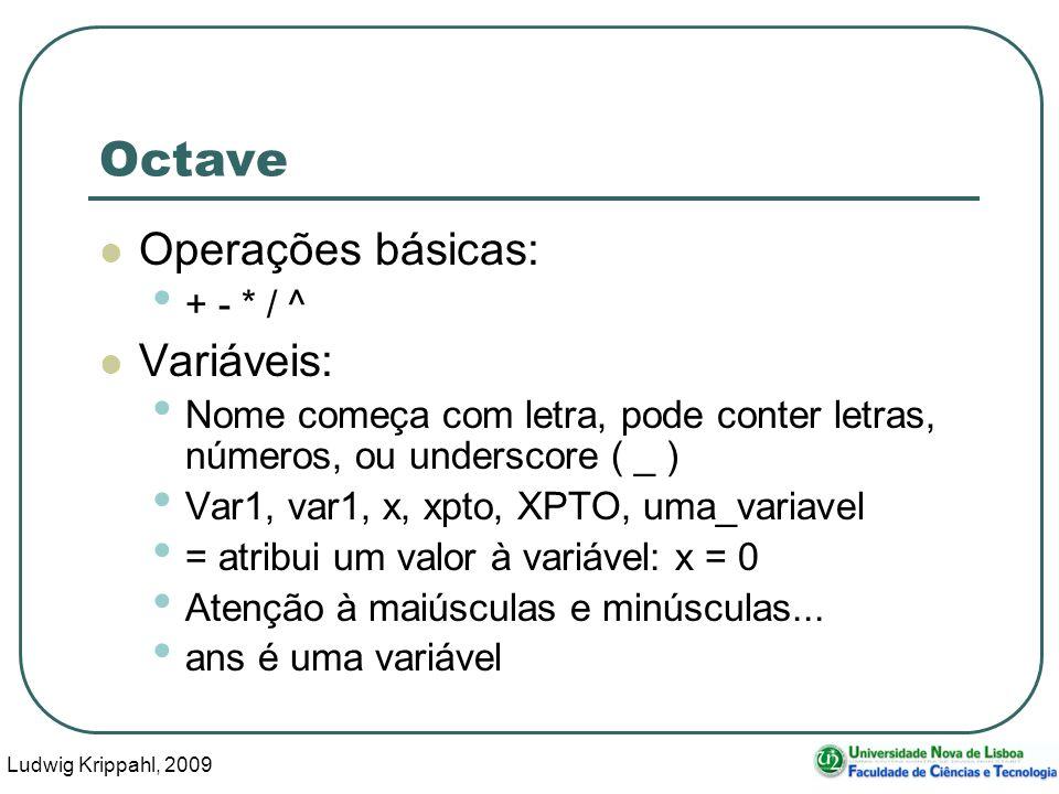 Ludwig Krippahl, 2009 20 Octave Operações básicas: + - * / ^ Variáveis: Nome começa com letra, pode conter letras, números, ou underscore ( _ ) Var1, var1, x, xpto, XPTO, uma_variavel = atribui um valor à variável: x = 0 Atenção à maiúsculas e minúsculas...