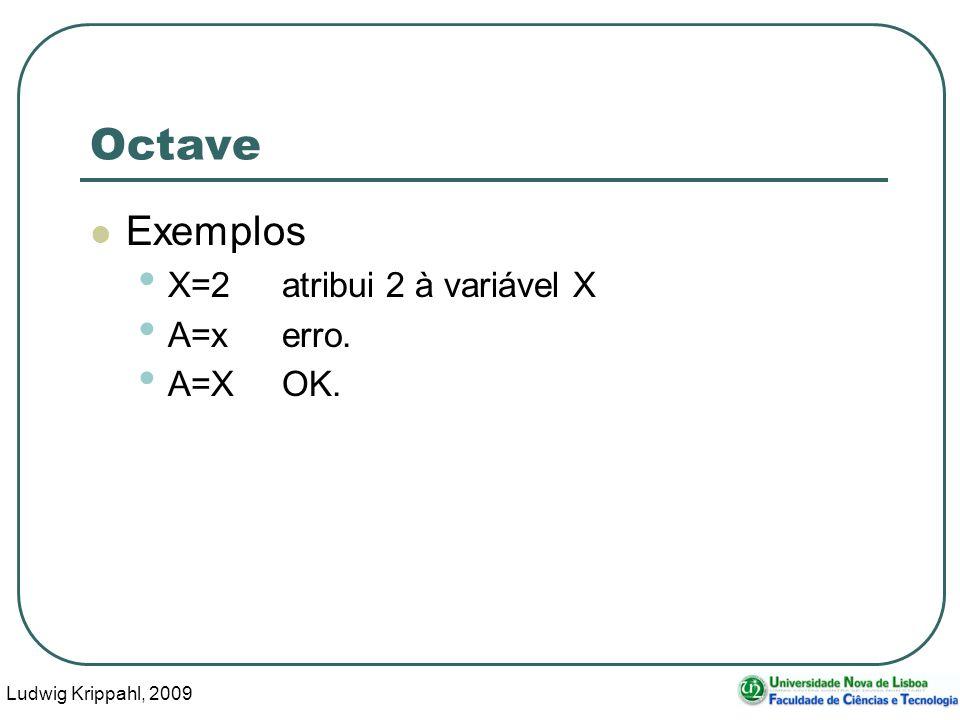 Ludwig Krippahl, 2009 21 Octave Exemplos X=2atribui 2 à variável X A=x erro. A=XOK.