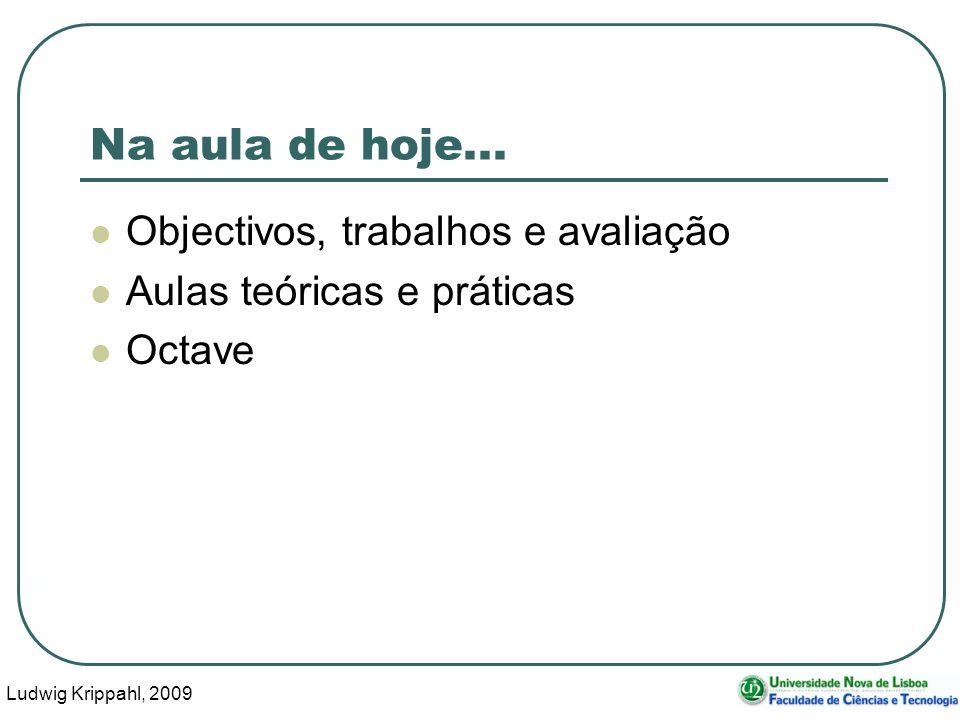 Ludwig Krippahl, 2009 4 Objectivos Conceitos básicos de programação em Octave/MATLAB.