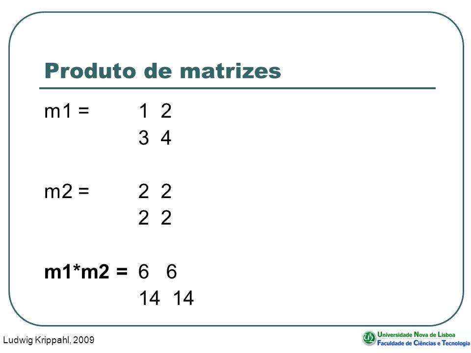 Ludwig Krippahl, 2009 32 Produto de matrizes m1 =1 2 3 4 m2 =2 2 2 2 m1*m2 = 6 6 14