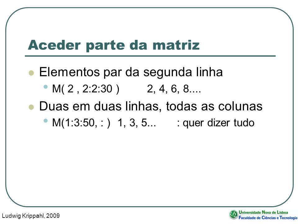 Ludwig Krippahl, 2009 44 Aceder parte da matriz Elementos par da segunda linha M( 2, 2:2:30 ) 2, 4, 6, 8....