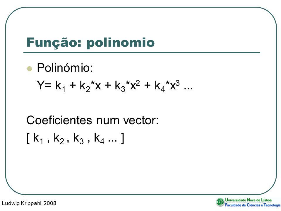 Ludwig Krippahl, 2008 15 Função: polinomio Polinómio: Y= k 1 + k 2 *x + k 3 *x 2 + k 4 *x 3...
