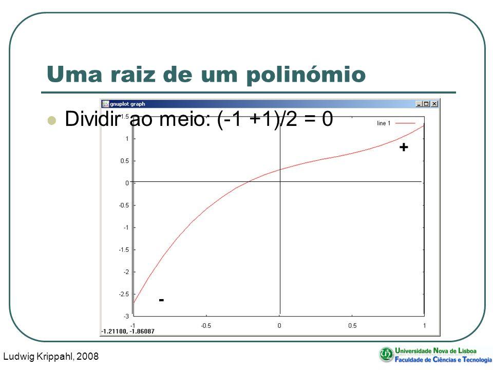 Ludwig Krippahl, 2008 25 - + Uma raiz de um polinómio Dividir ao meio: (-1 +1)/2 = 0
