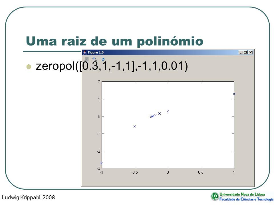 Ludwig Krippahl, 2008 38 Uma raiz de um polinómio zeropol([0.3,1,-1,1],-1,1,0.01)