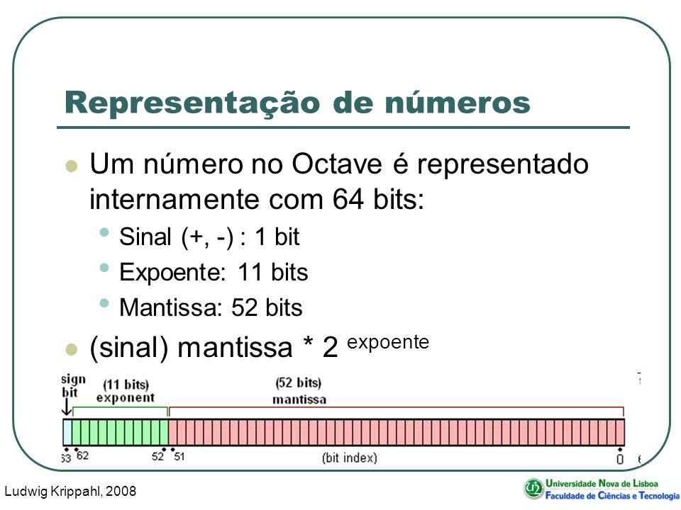 Ludwig Krippahl, 2008 40 Representação de números Um número no Octave é representado internamente com 64 bits: Sinal (+, -) : 1 bit Expoente: 11 bits Mantissa: 52 bits (sinal) mantissa * 2 expoente