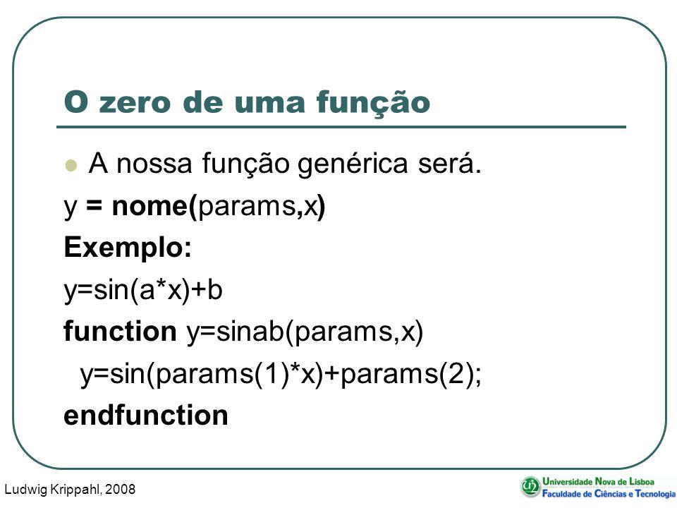 Ludwig Krippahl, 2008 46 O zero de uma função A nossa função genérica será.