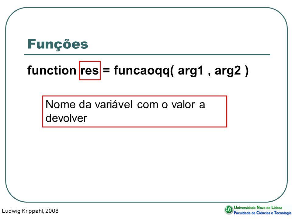 Ludwig Krippahl, 2008 18 Função: polinomio function y=polinomio(coefs,x) xx=x; y=coefs(1); for f=2:length(coefs) y=y+coefs(f)*xx;já funciona com xx=x.*xx;vectores endfor endfunction