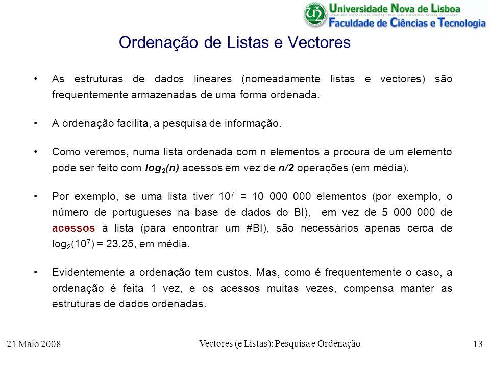 21 Maio 2008 Vectores (e Listas): Pesquisa e Ordenação 13 Ordenação de Listas e Vectores As estruturas de dados lineares (nomeadamente listas e vector