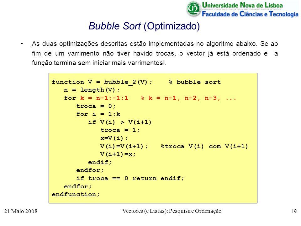 21 Maio 2008 Vectores (e Listas): Pesquisa e Ordenação 19 Bubble Sort (Optimizado) As duas optimizações descritas estão implementadas no algoritmo aba