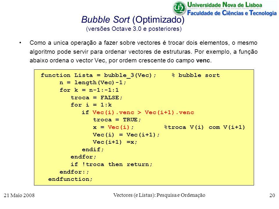21 Maio 2008 Vectores (e Listas): Pesquisa e Ordenação 20 Bubble Sort (Optimizado) (versões Octave 3.0 e posteriores) Como a unica operação a fazer so