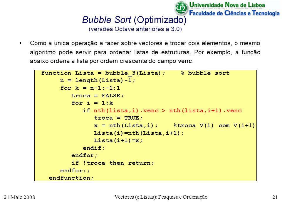21 Maio 2008 Vectores (e Listas): Pesquisa e Ordenação 21 Bubble Sort (Optimizado) (versões Octave anteriores a 3.0) Como a unica operação a fazer sob